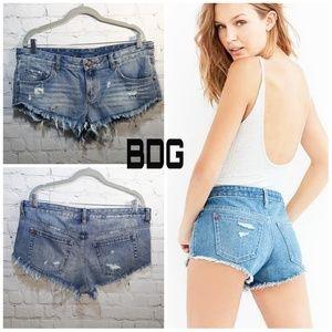 BDG distressed cut off blue ripped shorts Lg EUC